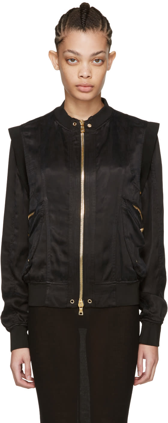 Balmain Black Zip Bomber Jacket