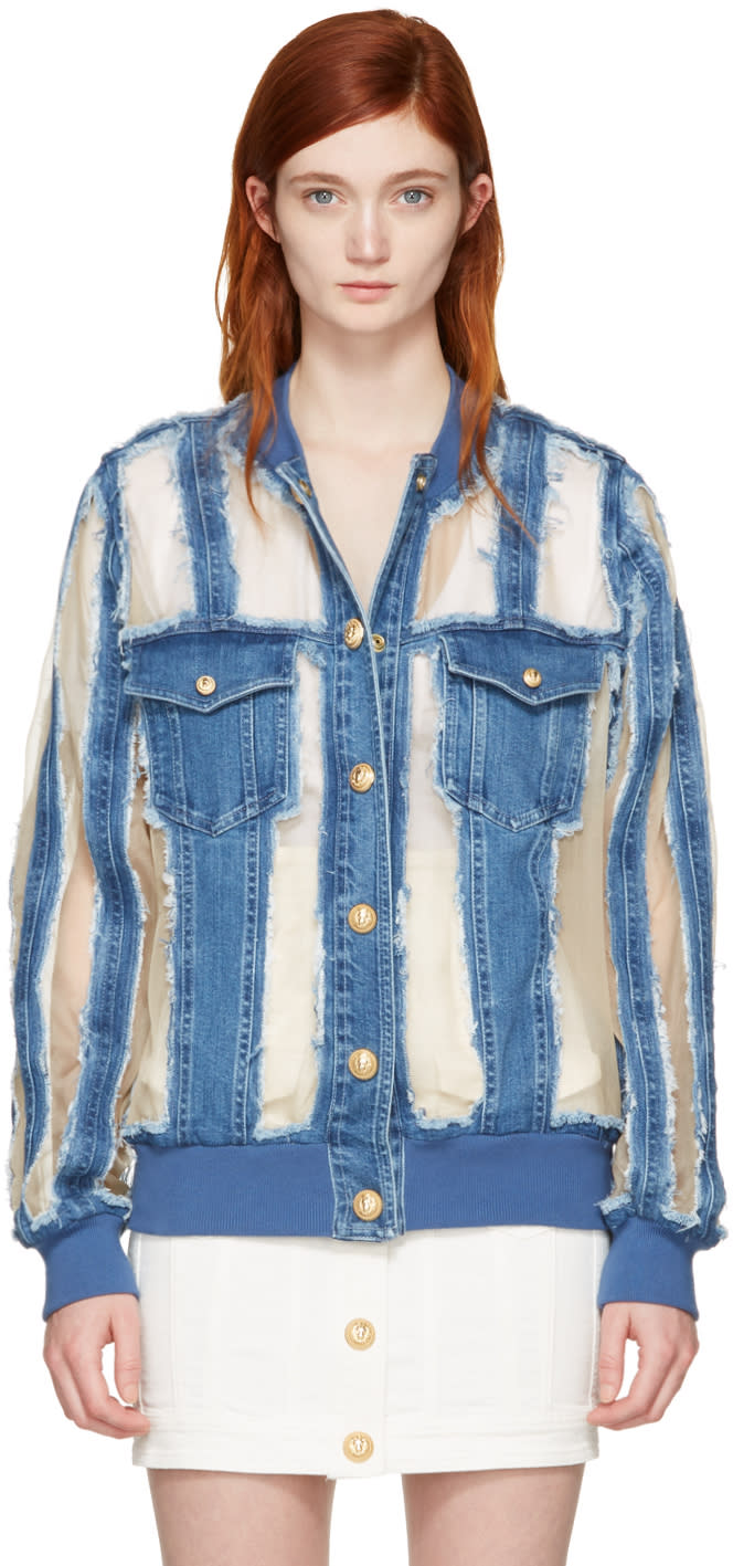 Balmain Blue Denim Sheer Jacket