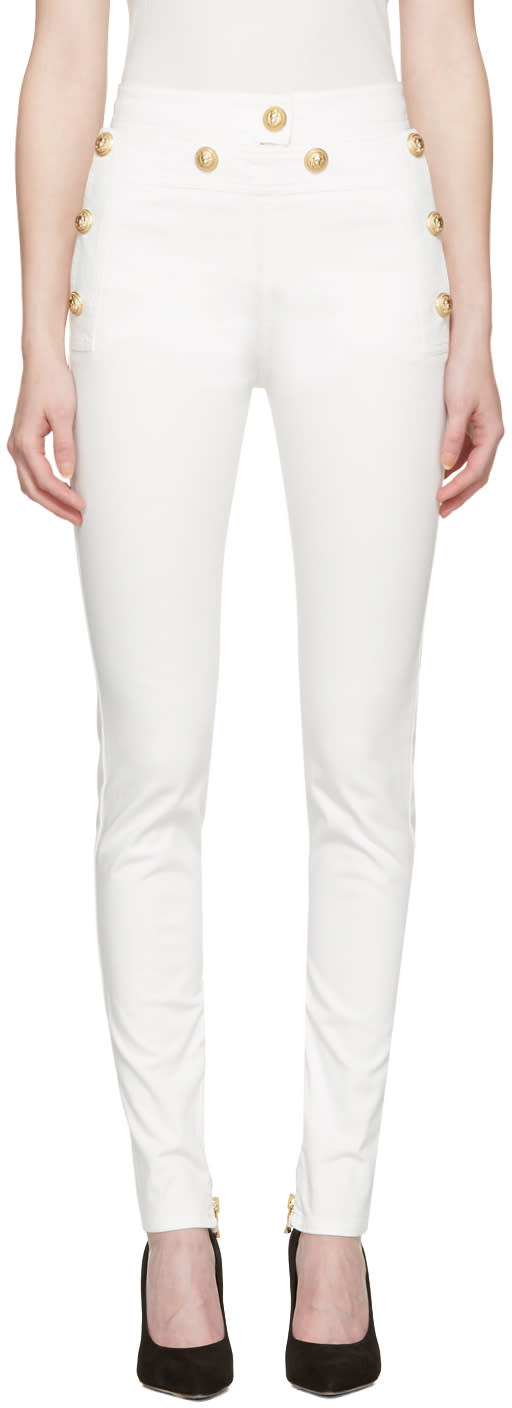 Balmain White Gold Buttons Jeans