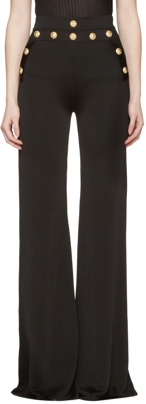 Balmain Black Gold Buttons Knit Trousers