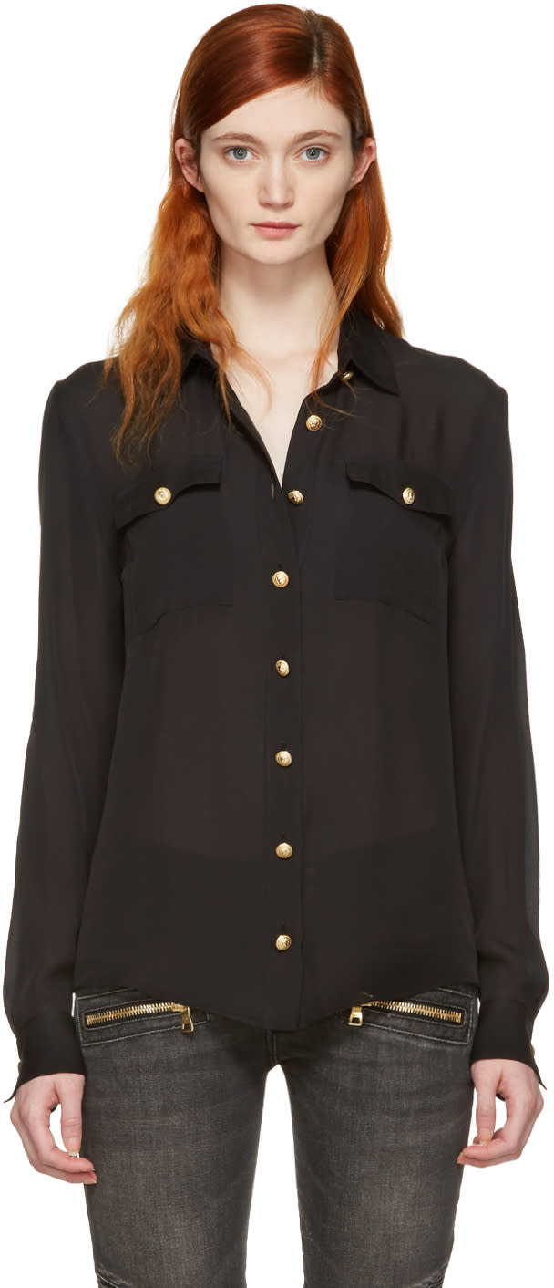 Balmain Black Silk Gold Buttons Shirt