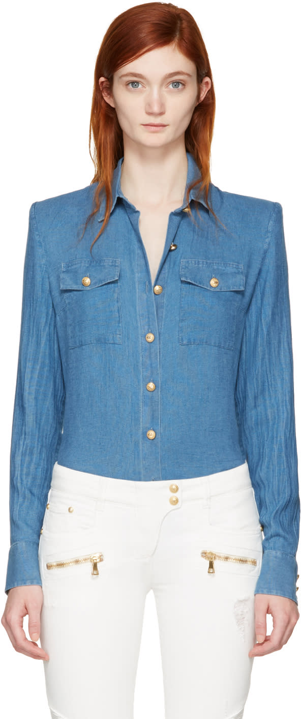 Balmain Blue Buttons Shirt