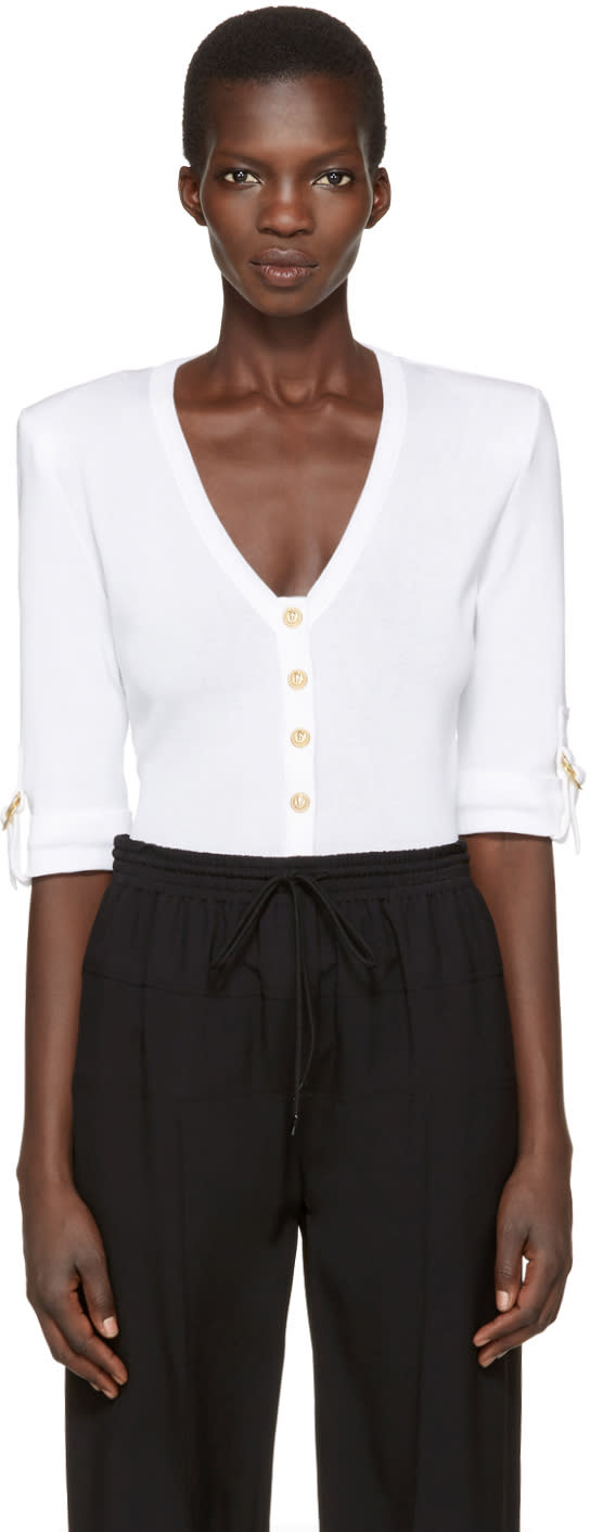 Balmain White V-neck Pullover
