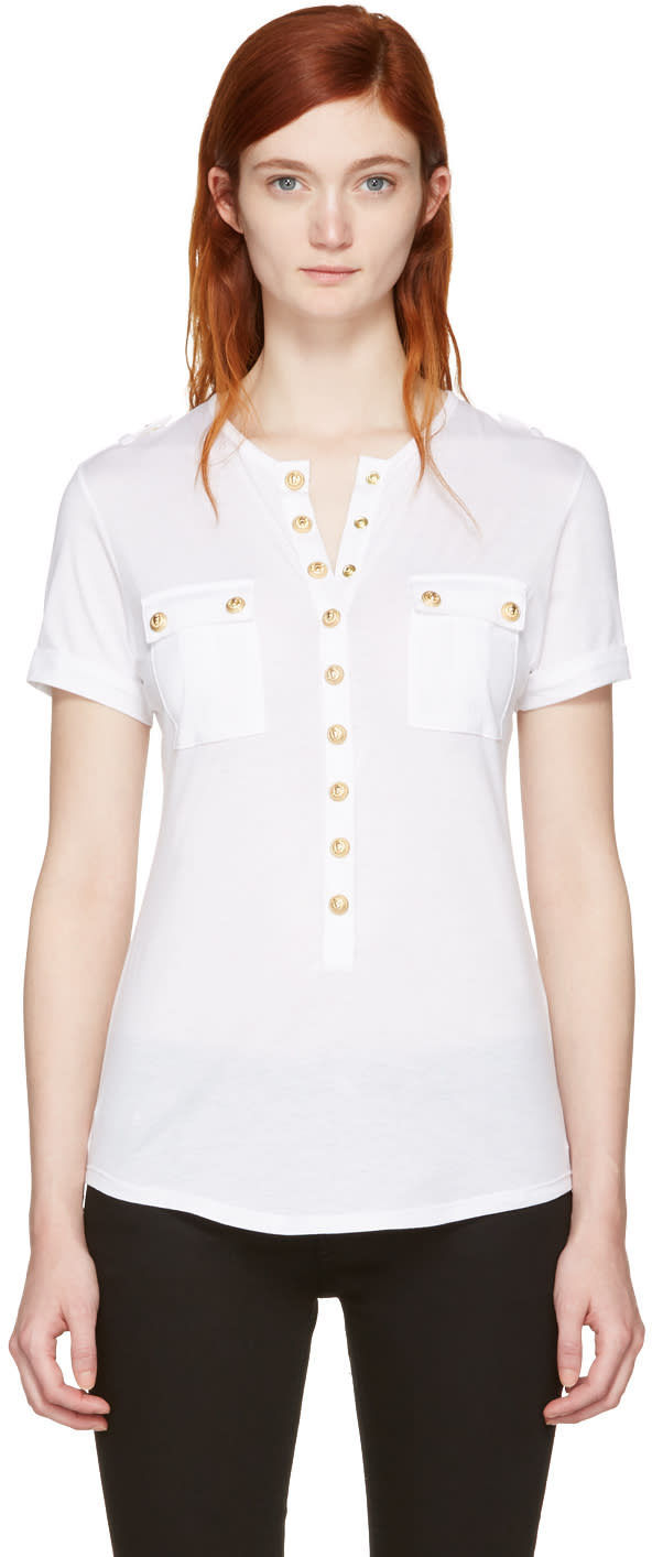 Balmain White Pockets T-shirt