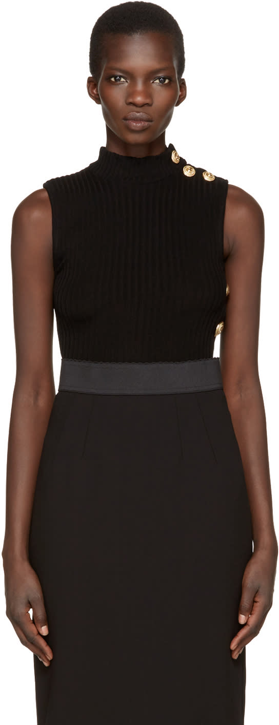 Balmain Black Sleeveless Turtleneck