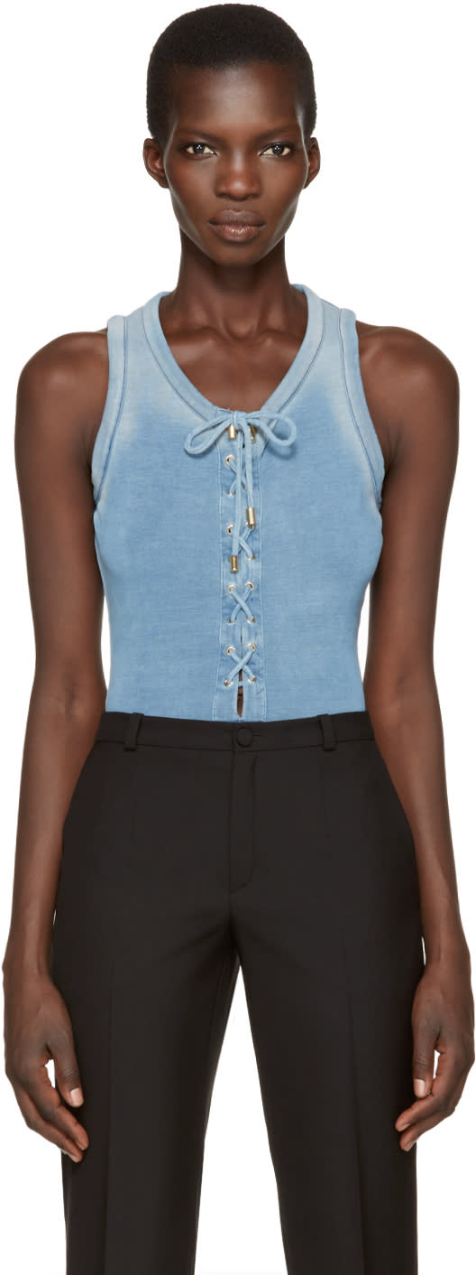 Balmain Blue Lace-up Bodysuit