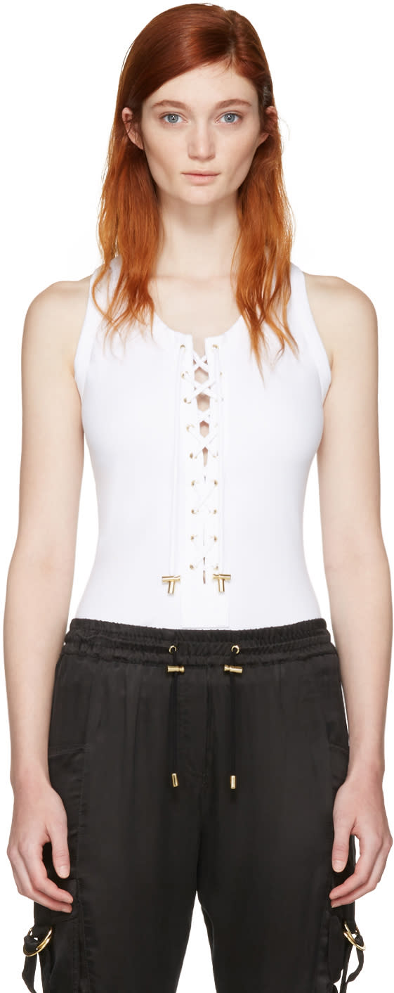 Balmain White Lace-up Bodysuit