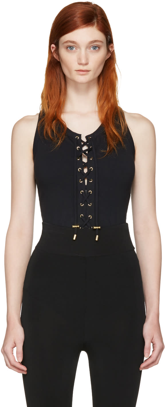 Balmain Black Lace-up Bodysuit