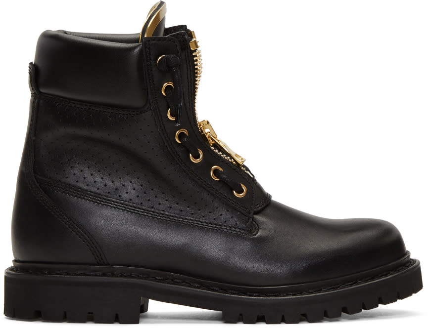 Balmain Black Perforated Taiga Boots