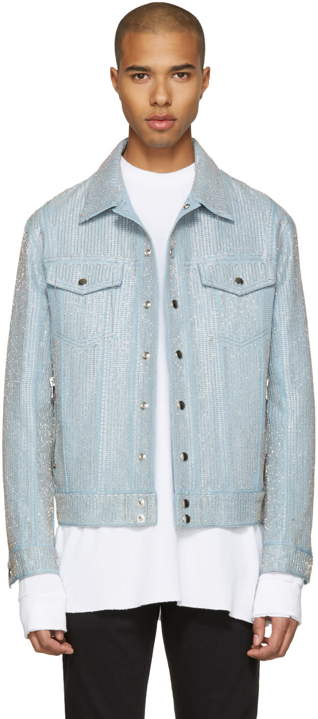 Balmain Blue Embroidered Denim Jacket