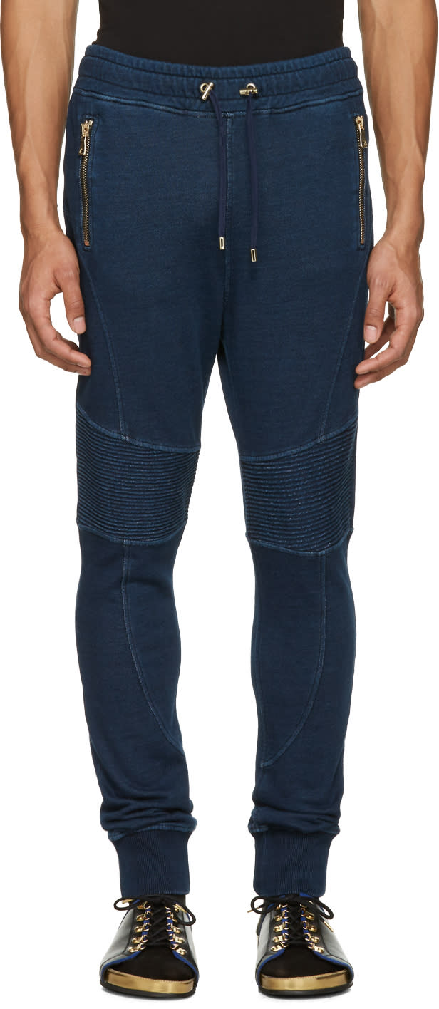 Balmain Blue Panelled Zip Lounge Pants