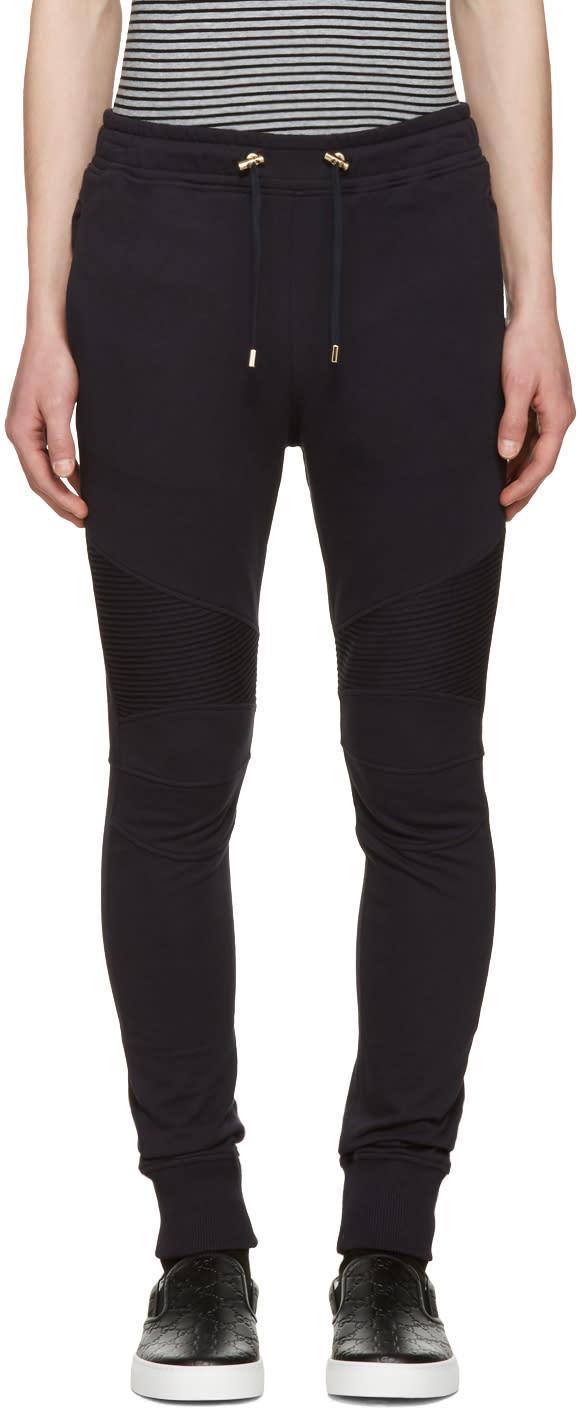 Balmain Navy Ribbed Knee Lounge Pants