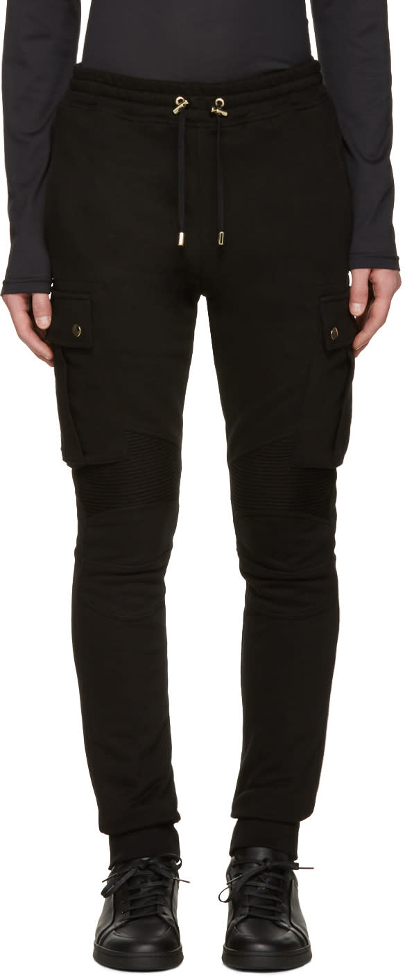 Balmain Black Cargo Lounge Pants