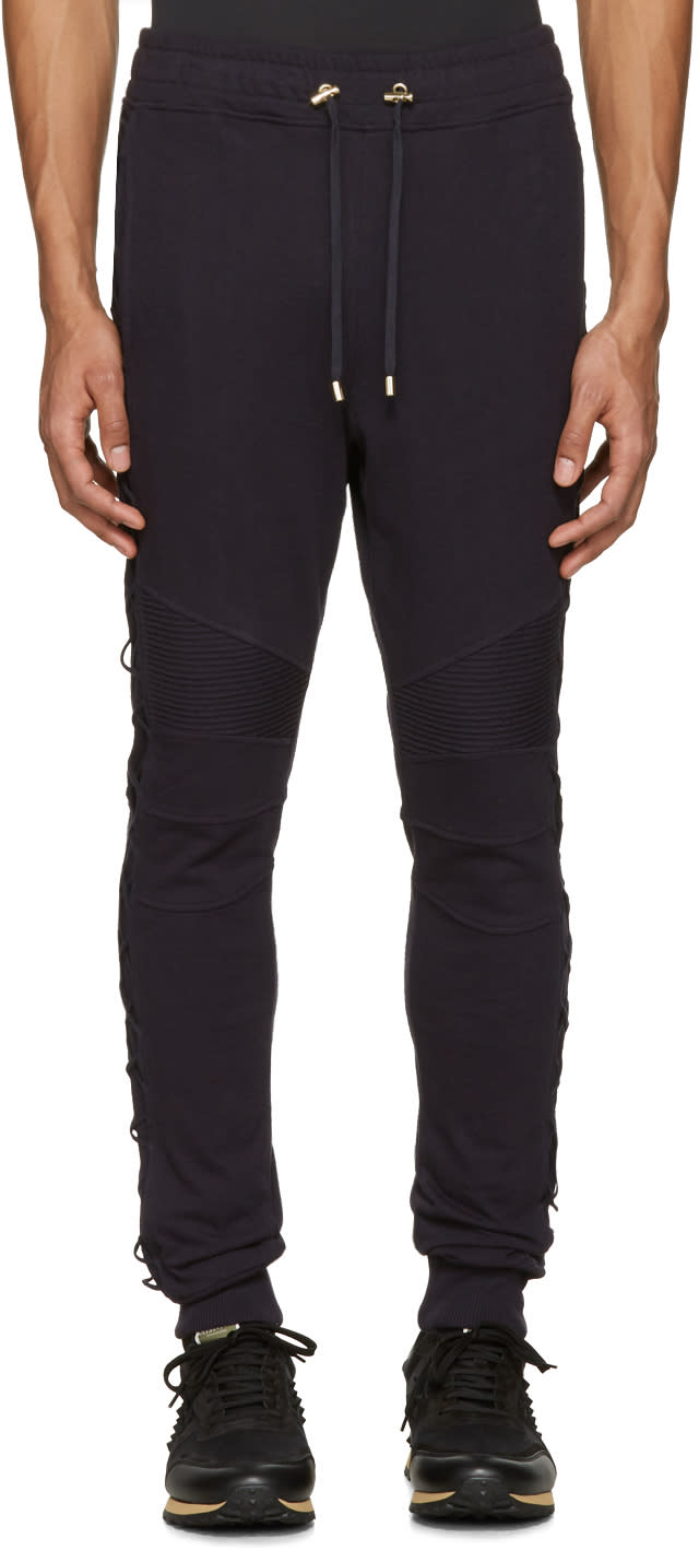 Balmain Navy Lace-up Lounge Pants