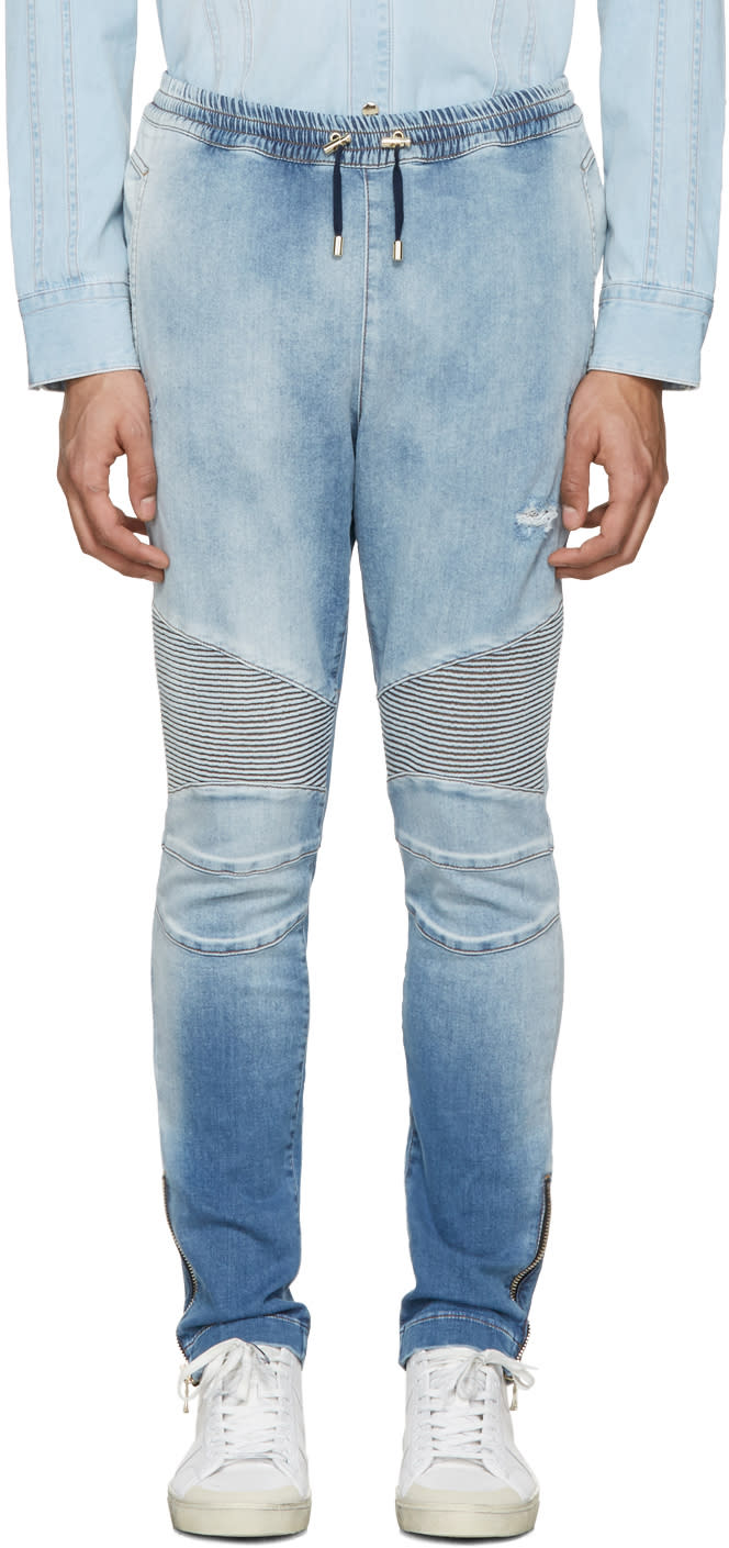 Balmain Blue Denim Biker Lounge Pants