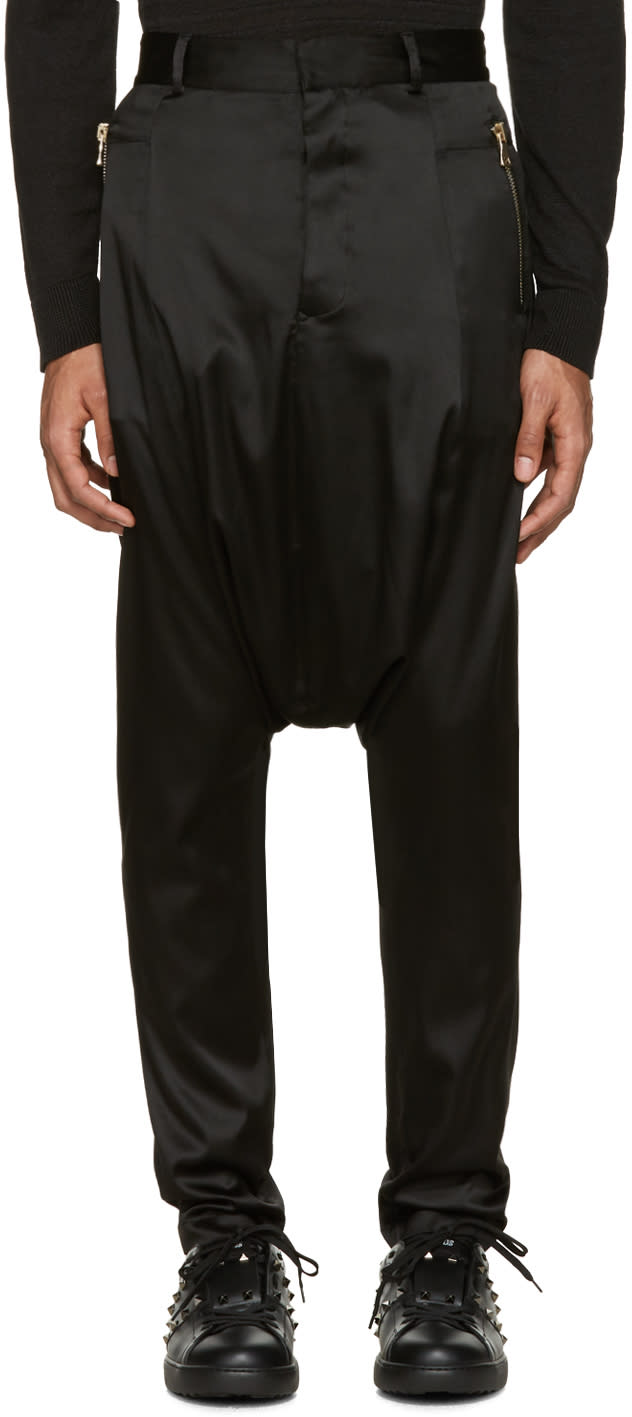 Balmain Black Silk Sarouel Trousers