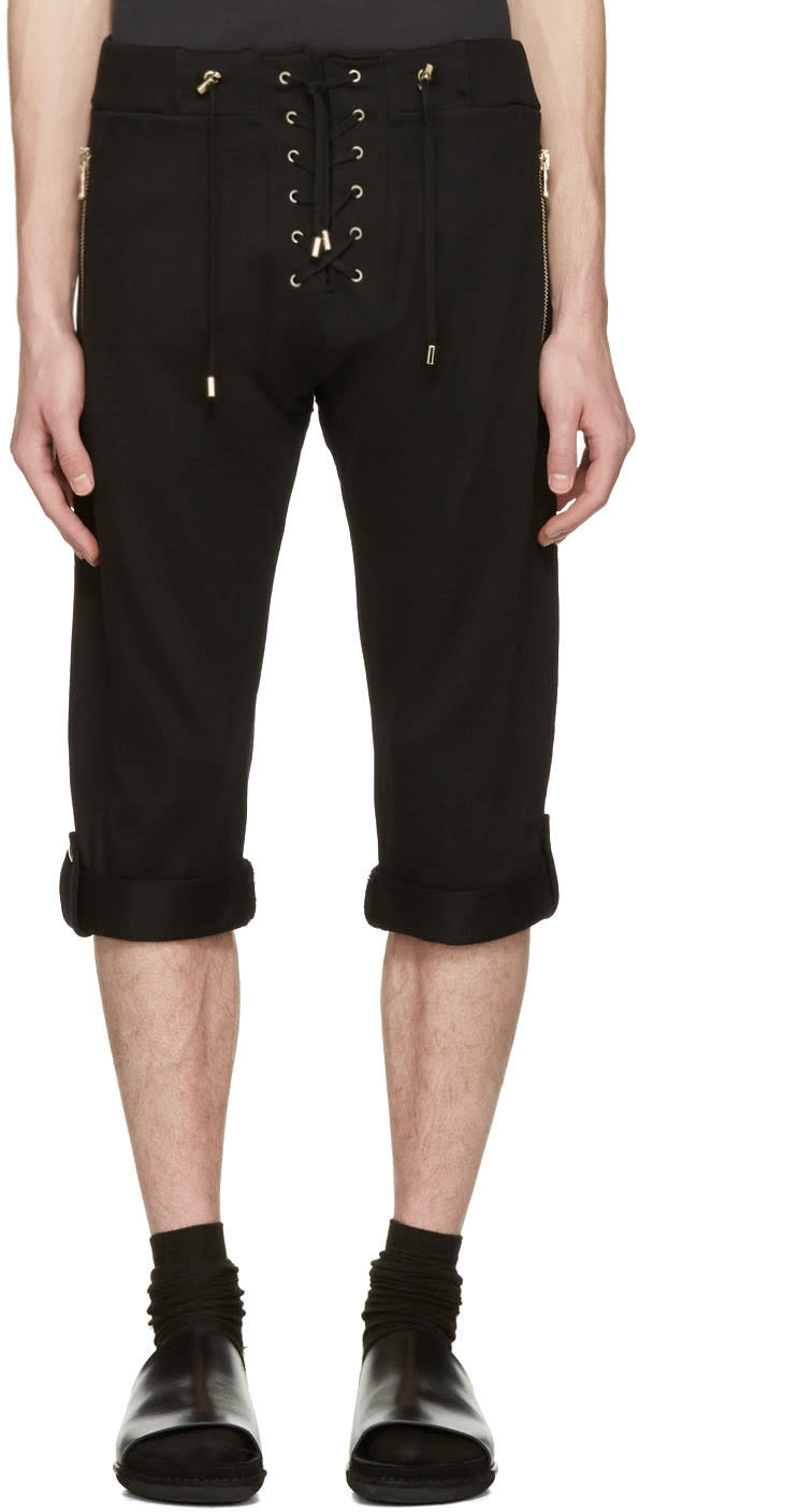 Balmain Black Lace-up Lounge Shorts