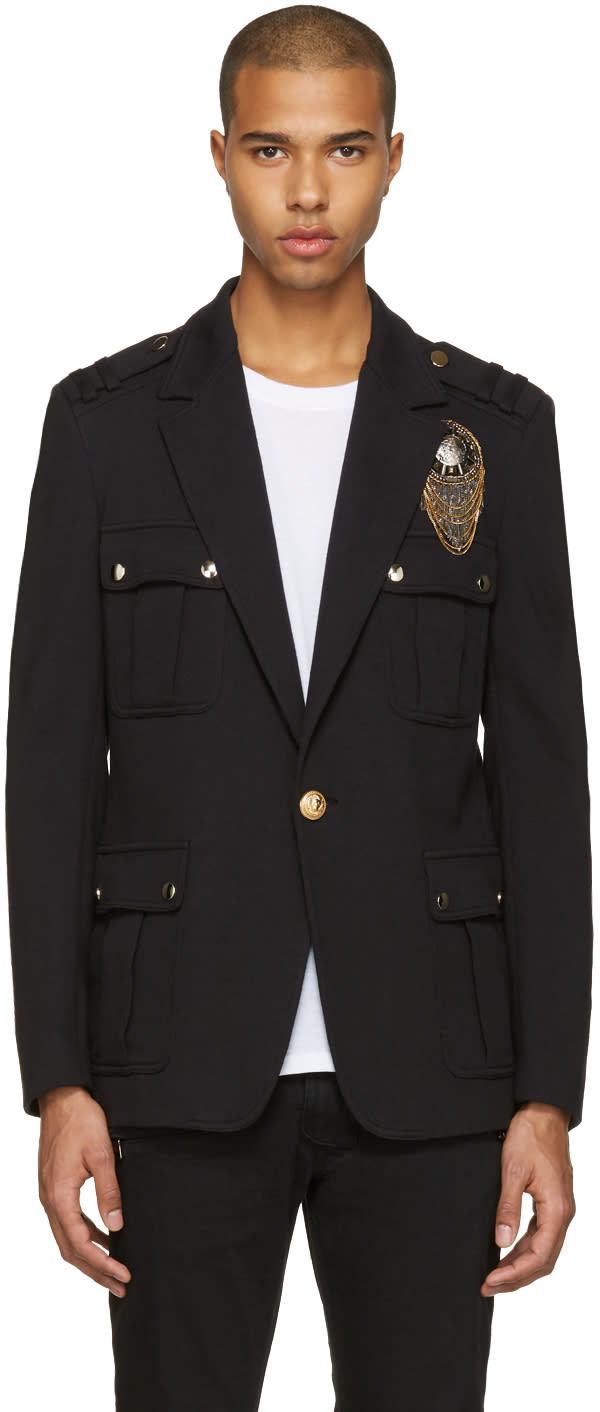 Balmain Black Embroidered Military Blazer