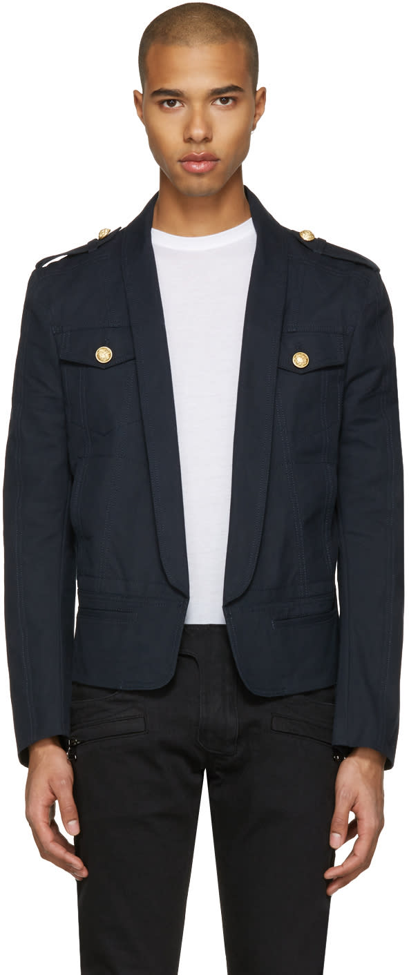 Balmain Navy Shawl Collar Military Blazer