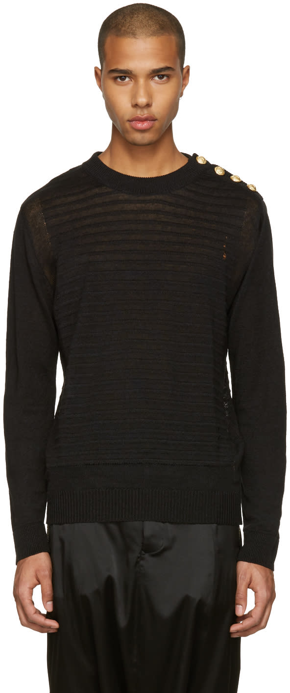Balmain Black Relief Sweater