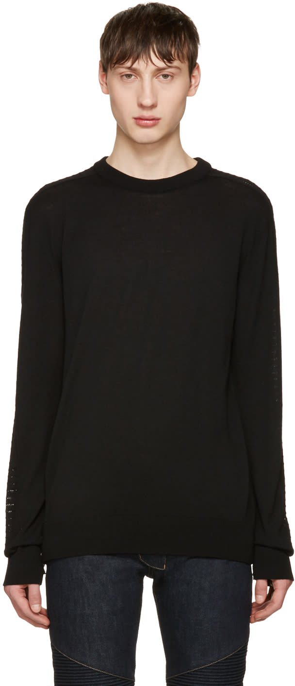 Balmain Black Side Zip Sweater