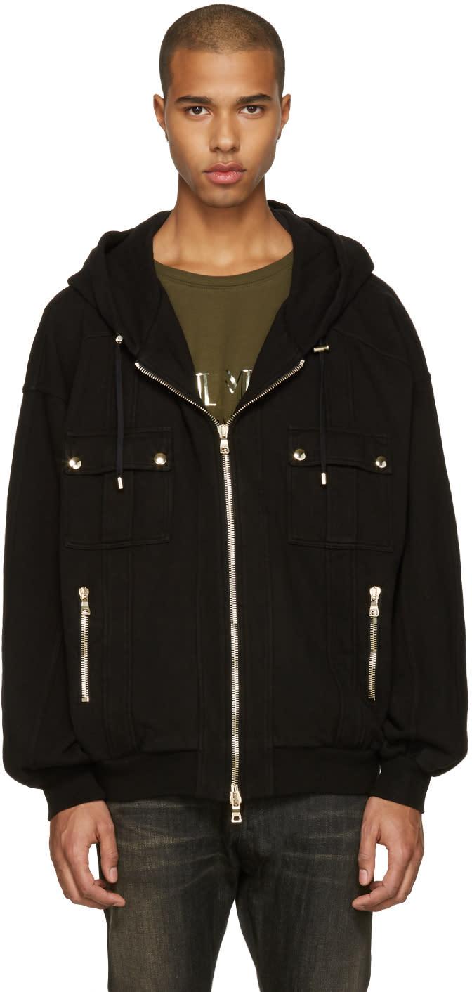 Balmain Black Oversized Zip Hoodie