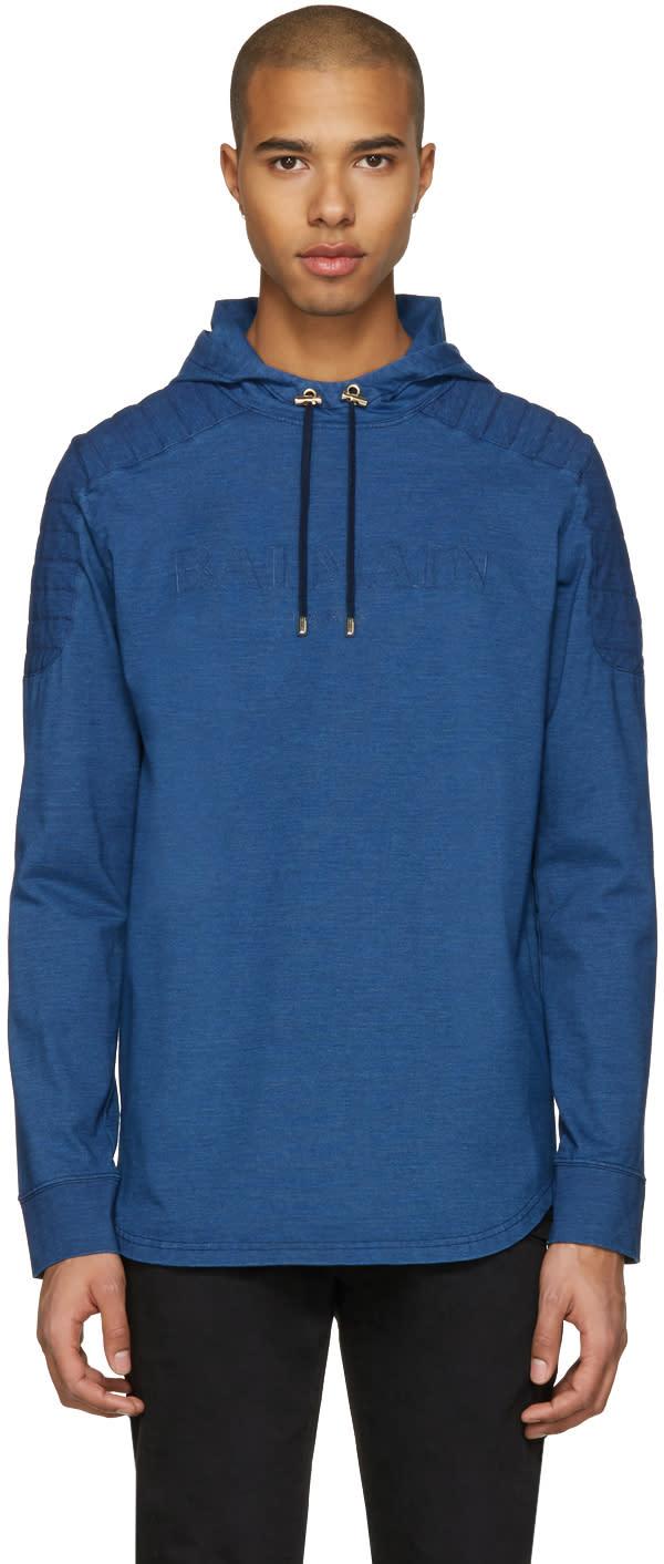 Balmain Blue Quilted Logo Hoodie