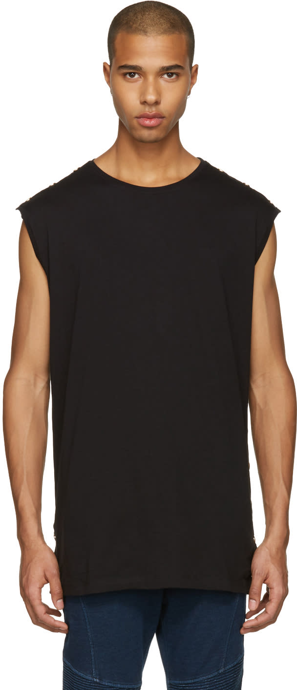 Balmain Black Studded Muscle T-shirt