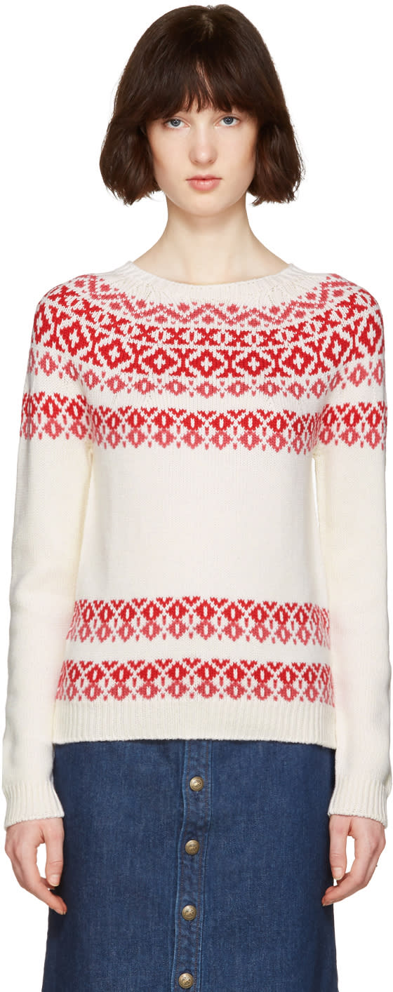 A.p.c. Ivory and Pink Romy Apres-ski Sweater