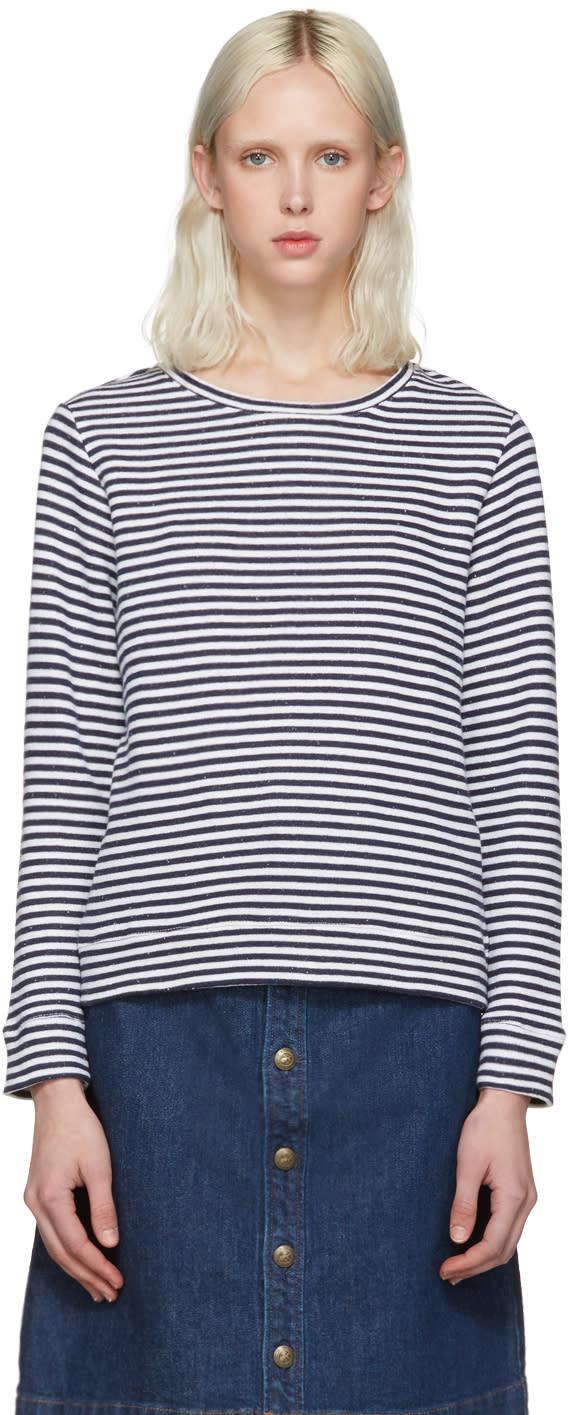 A.p.c. White Striped Pullover