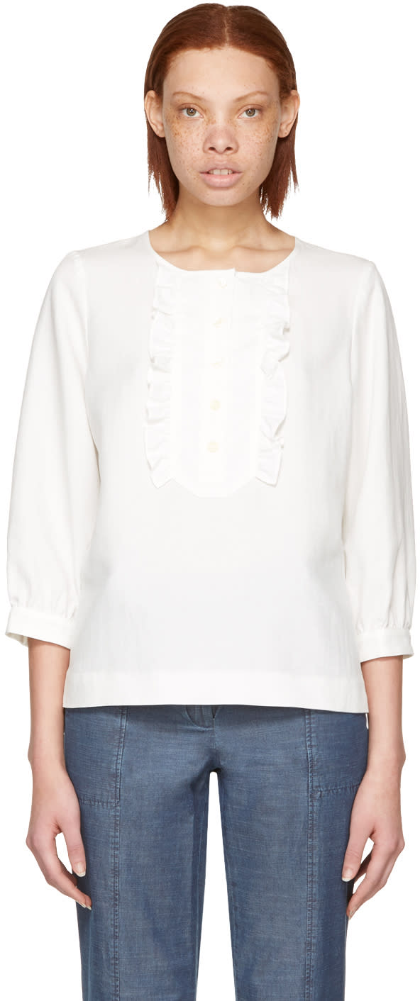 A.p.c. White Cleo Blouse