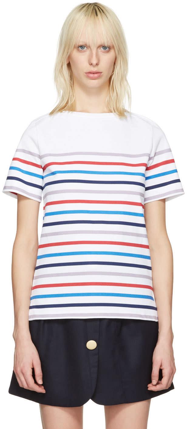 A.p.c. White Striped Yoyogi T-shirt