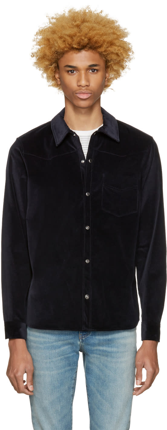 A.p.c. Navy Corduroy Billy Shirt