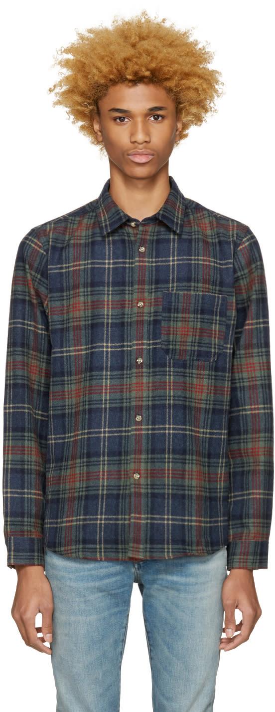 A.p.c. Blue Check Wool Trevor Shirt