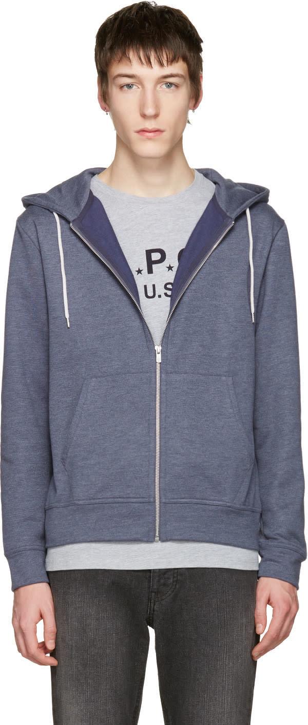 A.p.c. Blue Zip-up Hoodie