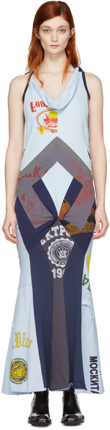 Junya Watanabe Blue Patchwork Print Mix Dress
