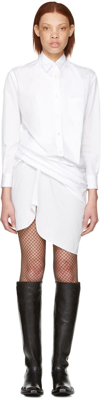 Junya Watanabe White Draped Shirt Dress