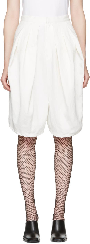Junya Watanabe White Linen Denim Shorts