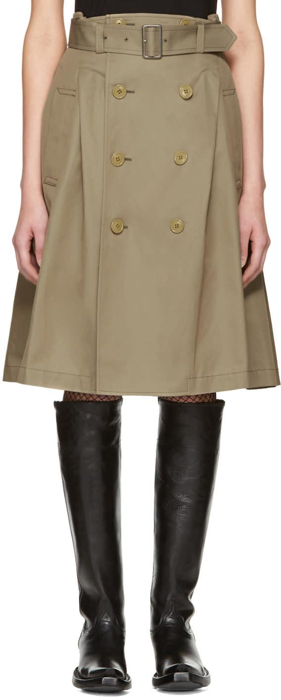 Junya Watanabe Beige Double Button Skirt
