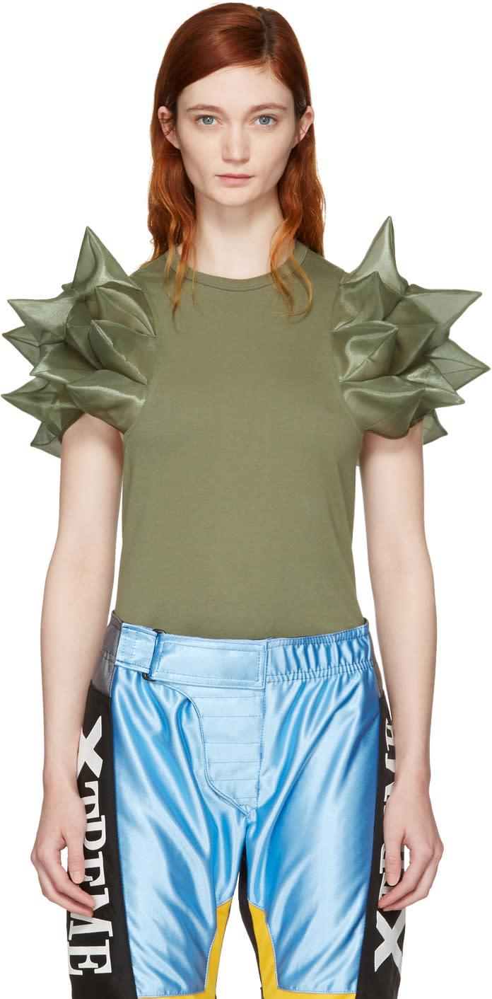 Junya Watanabe Green Geometric Sleeve T-shirt