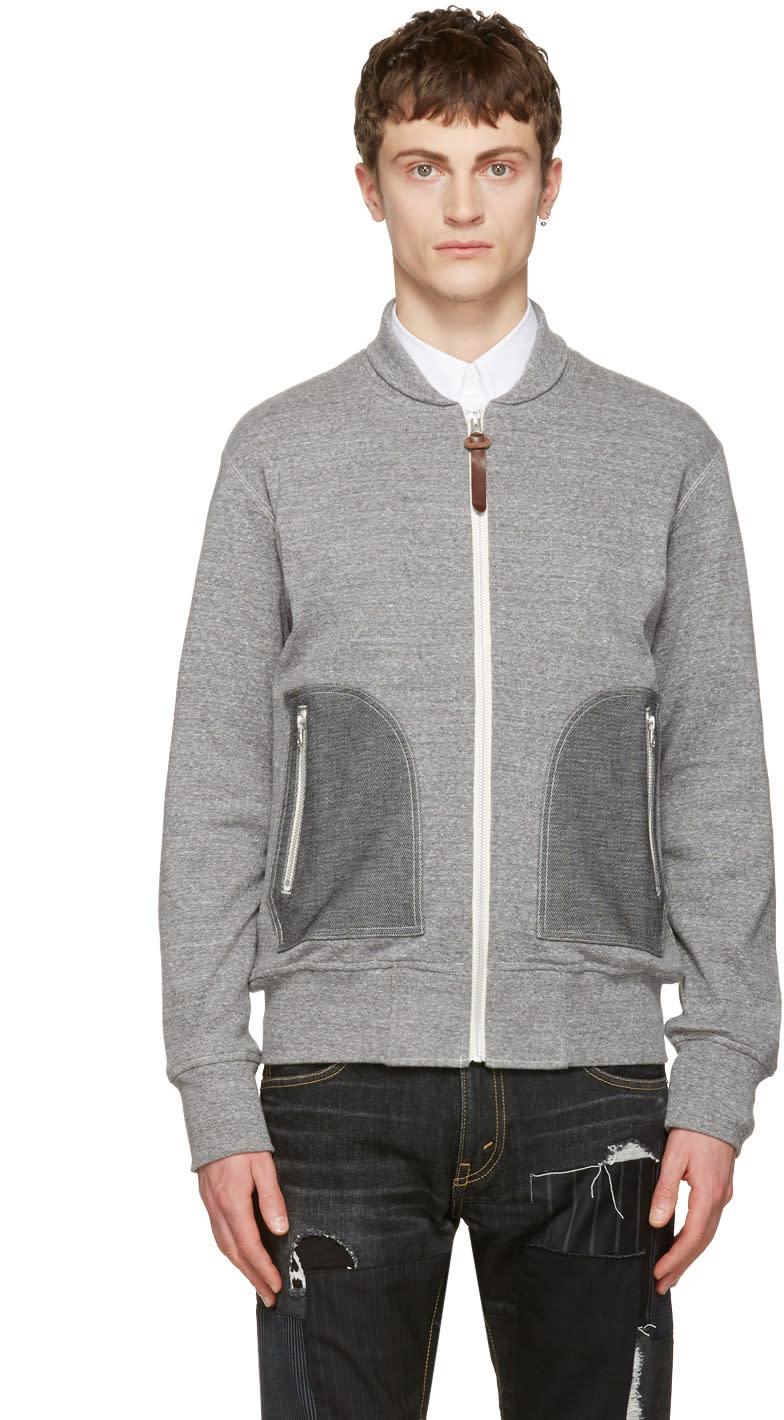 Junya Watanabe Grey Contrast Zip-up Pullover