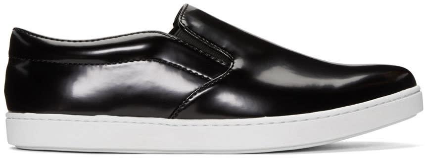 Junya Watanabe Black Synthetic Slip-on Sneakers