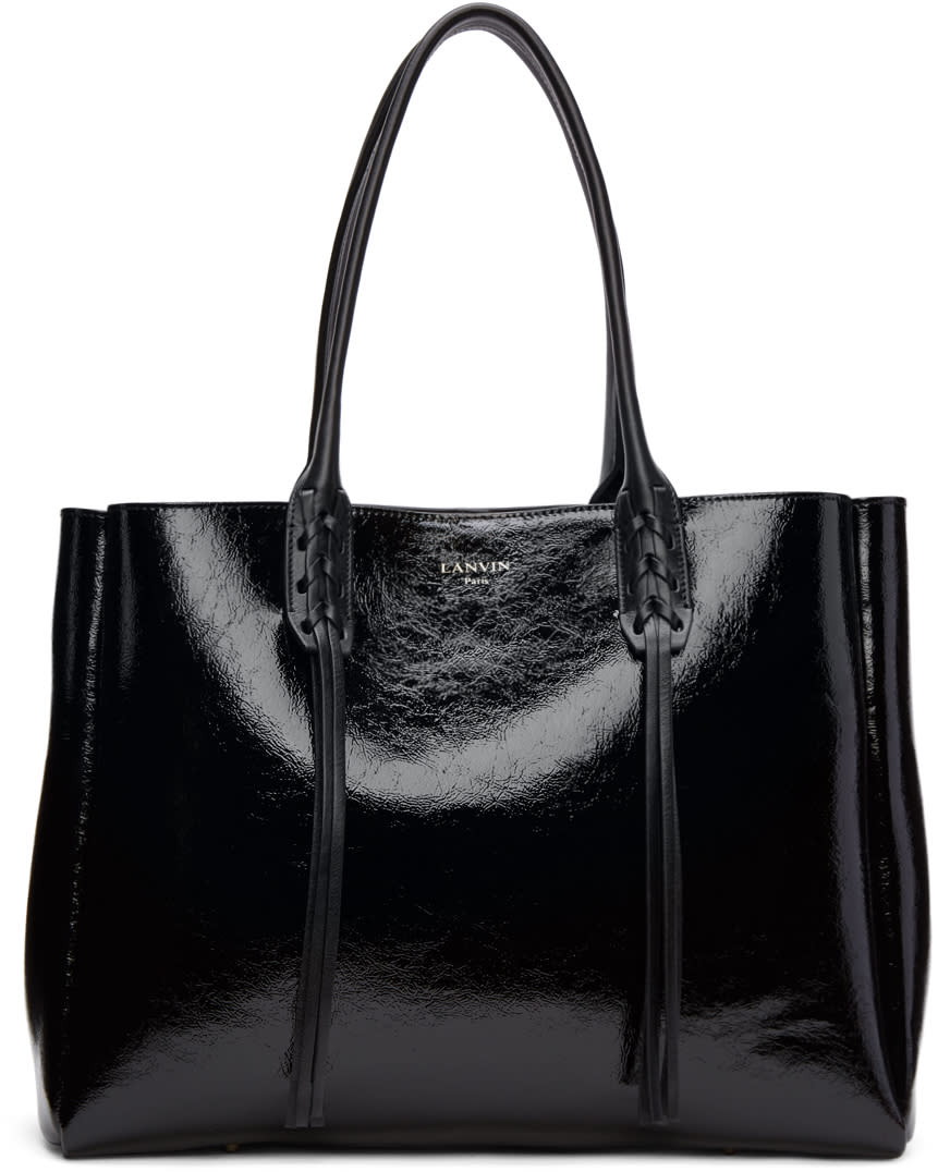 Lanvin Black Patent Small Shopper Tote