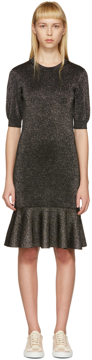 Lanvin Black Lurex Peplum Dress
