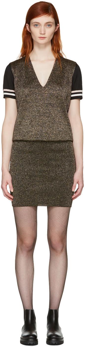 Lanvin Gold and Black Lurex V-neck Dress