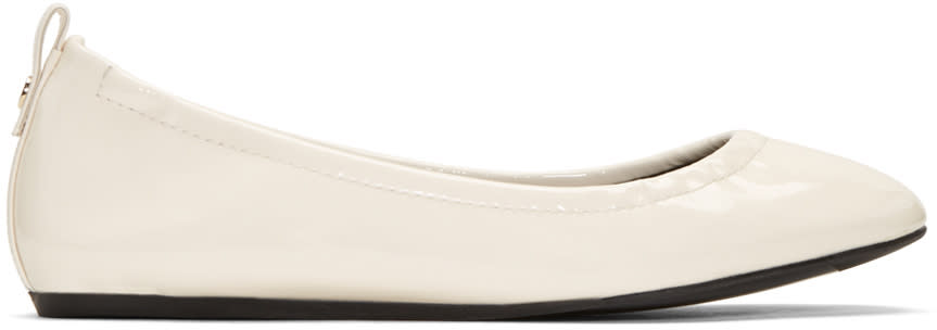 Lanvin Ivory Patent Leather Classic Ballerina Flats