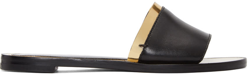 Image of Lanvin Black and Gold Flat Sandals
