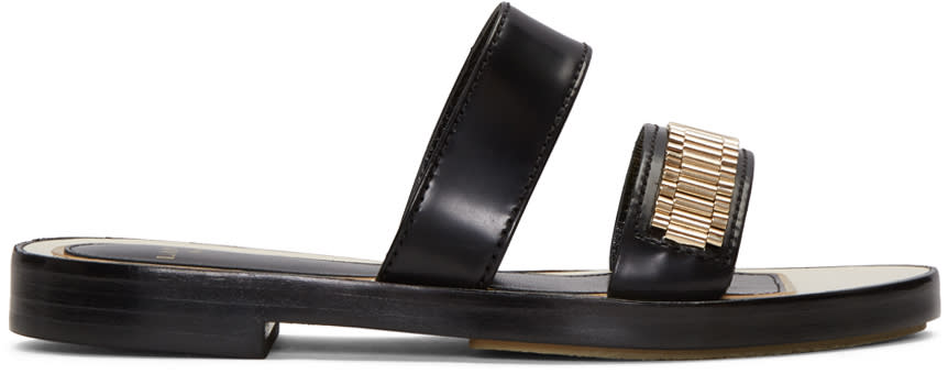 Lanvin Black Double Stripe Chain Sandals