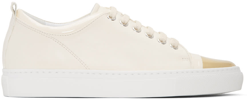 Lanvin Ivory and Gold Leather Sneakers