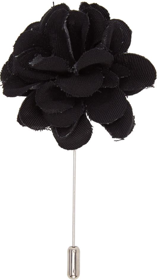 Lanvin Black Rose Tie Pin